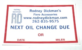Static Cling Oil Change Stickers